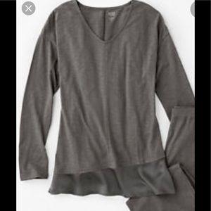 Eileen Fisher organic cotton silk trim pajama top